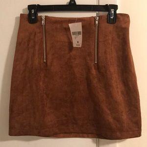 Faux suede mini double zipper skirt